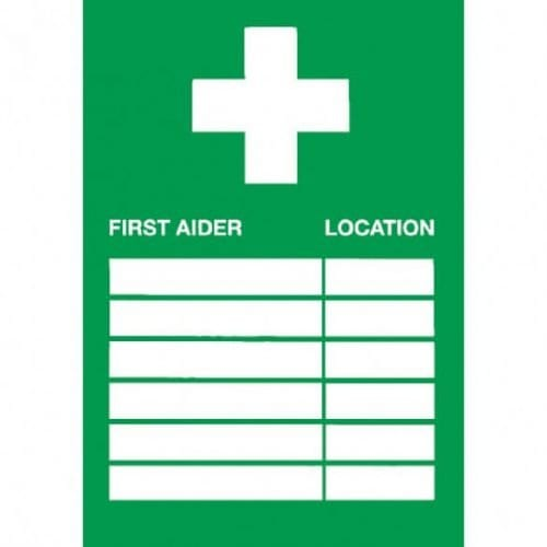 First Aid sign for first aider location